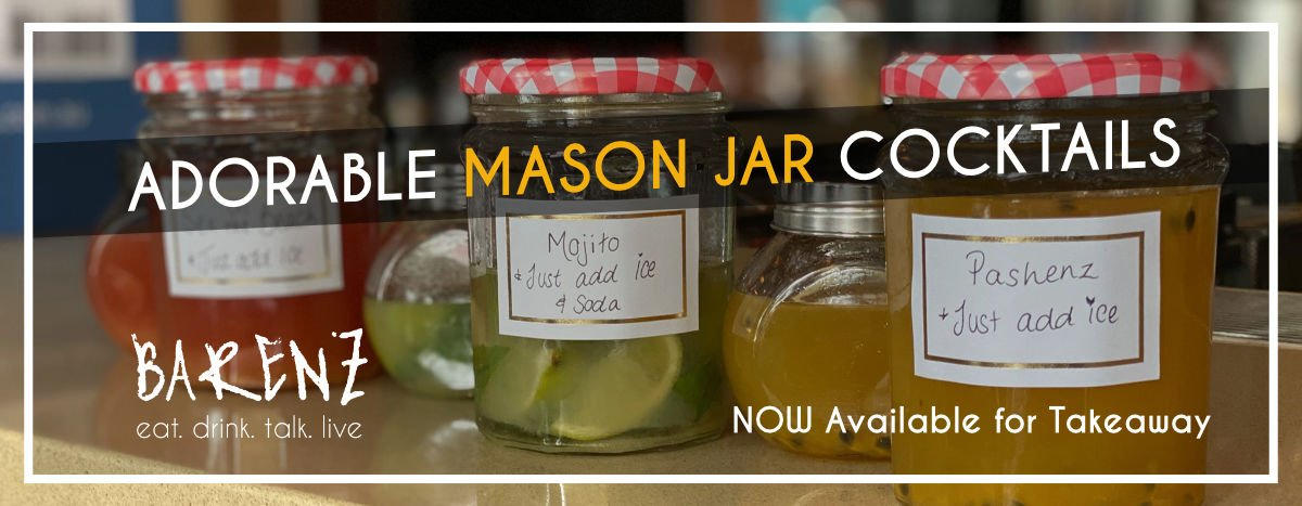 Mason jar cocktails for takeaway.